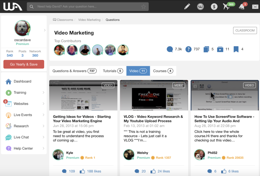 video marketing course at wealthy affiliate
