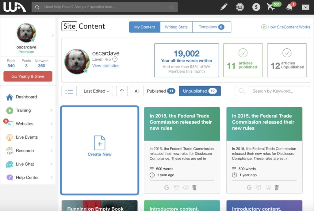 site content platform for bloggers