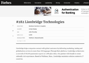 forbes list of lionsbridge