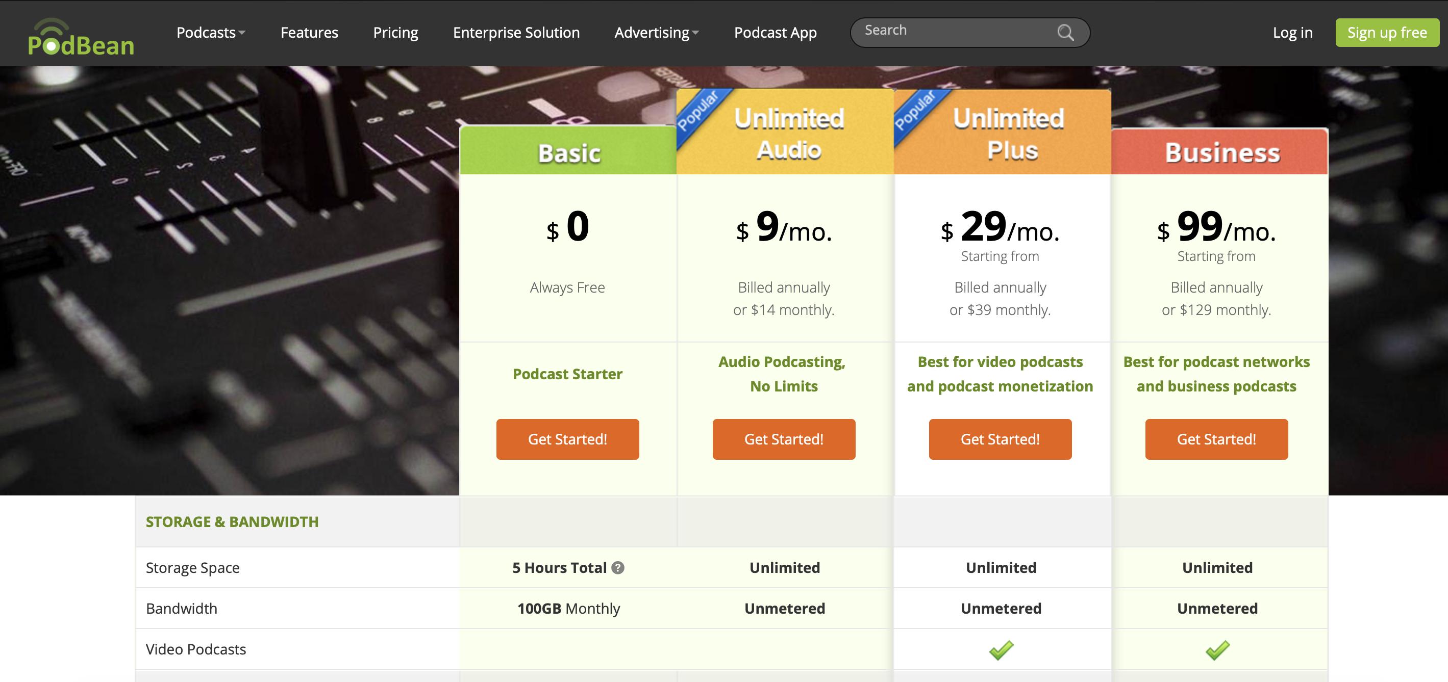 podbean pricing page