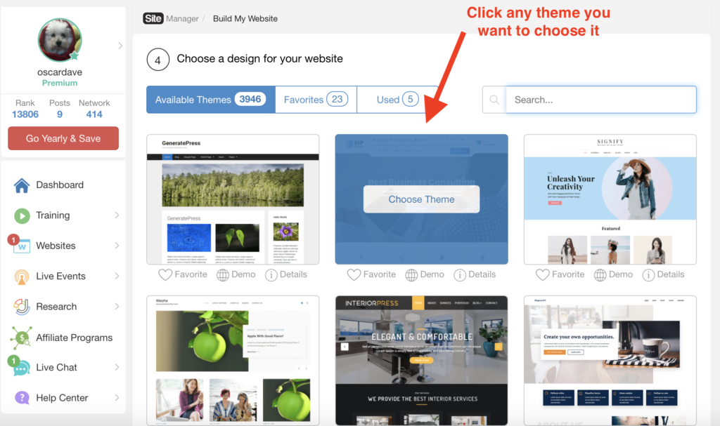 choosing themes for your site