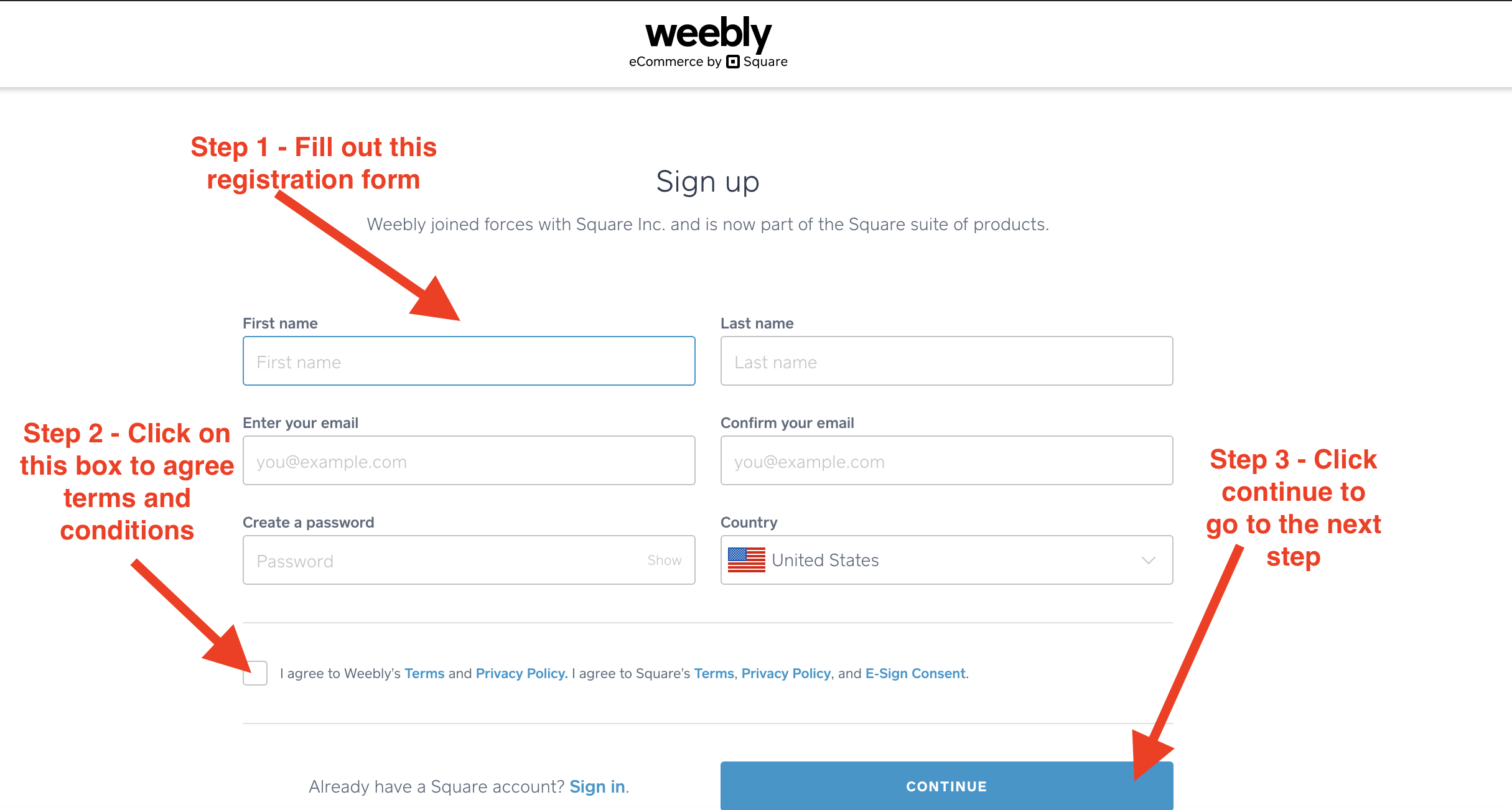 weebly account creation