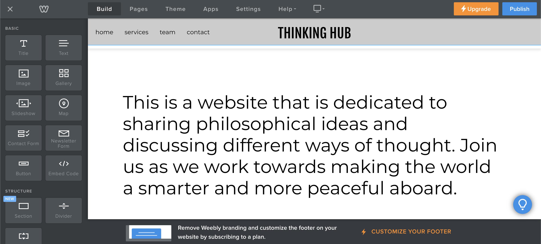 Description in weebly homepage