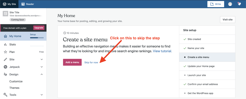 creating menus on wordpress