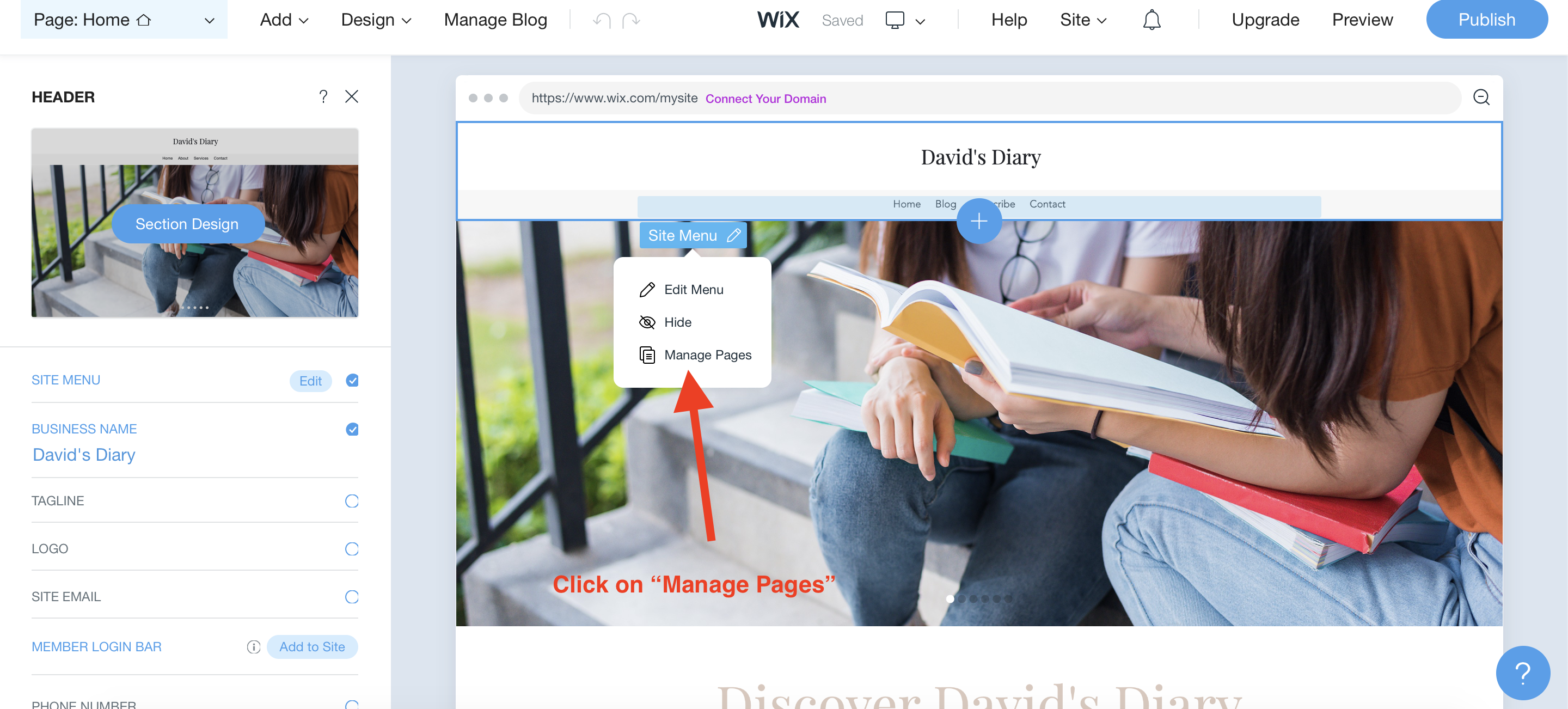 adding new pages on wix