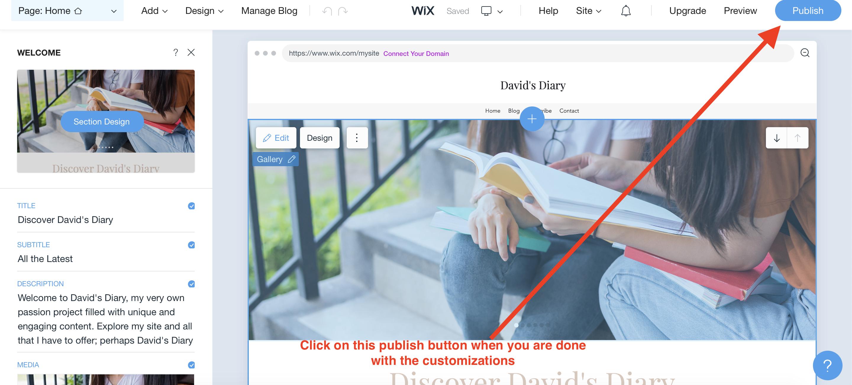 publishing your website on wix