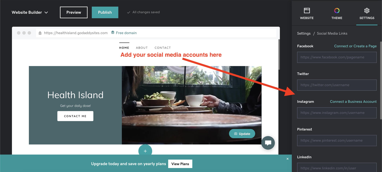 Adding social media links