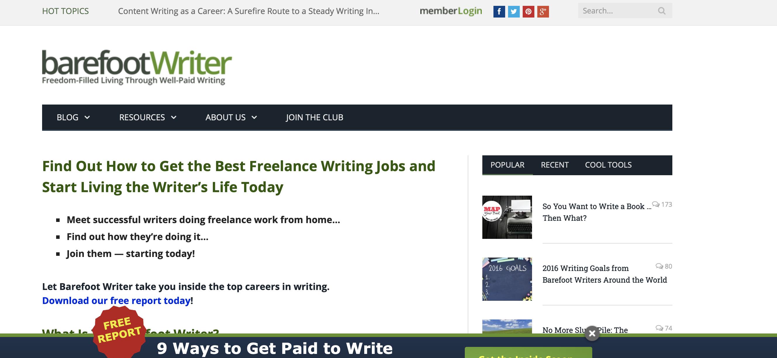 barefoot writer website