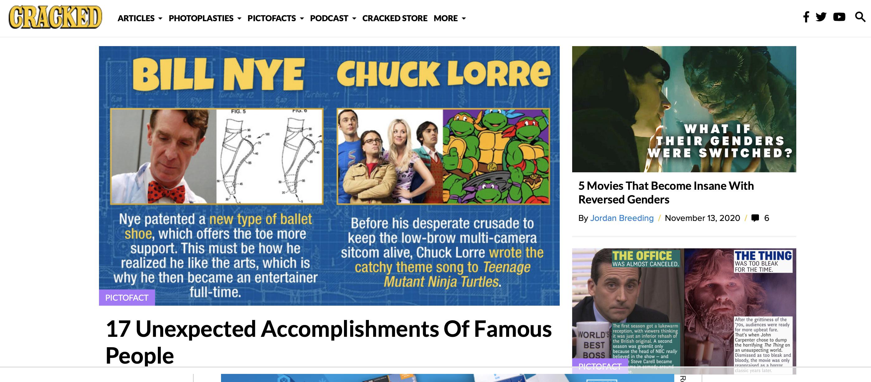 cracked humor website